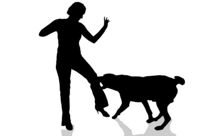 人に噛みつく犬のシルエット